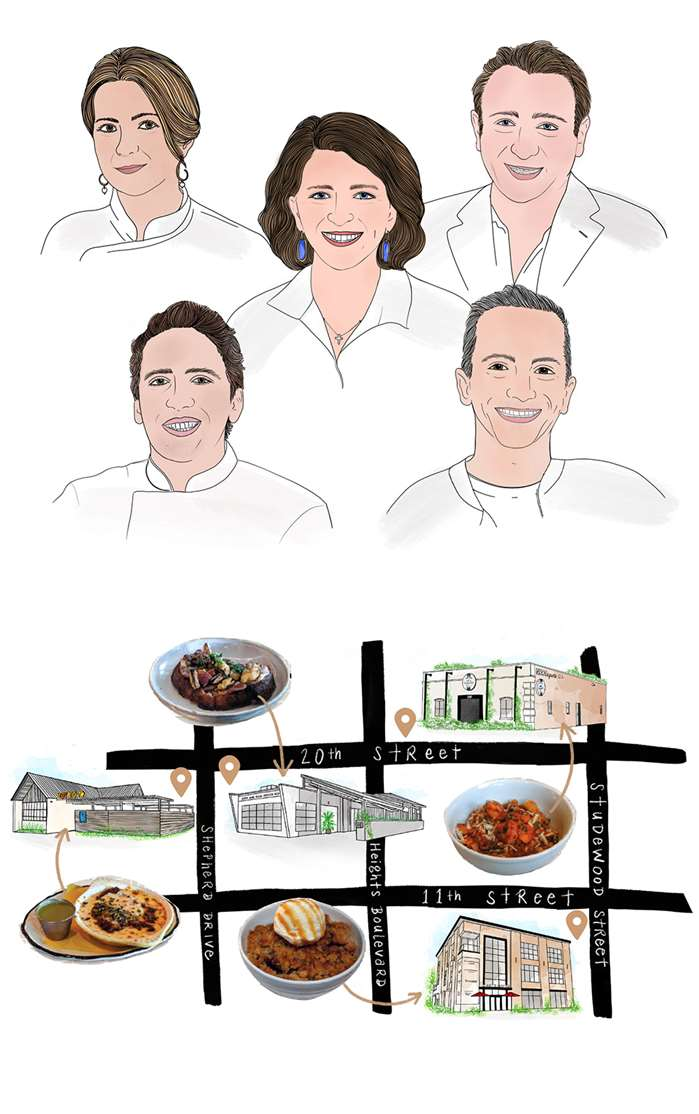 portrait of houston restaurant owners and places