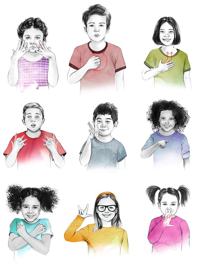drawings of cute kids using sign language