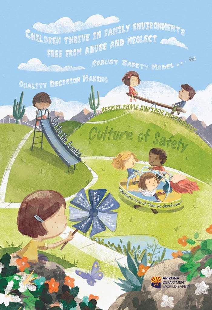 artwork spreading AZDCS message of child safety