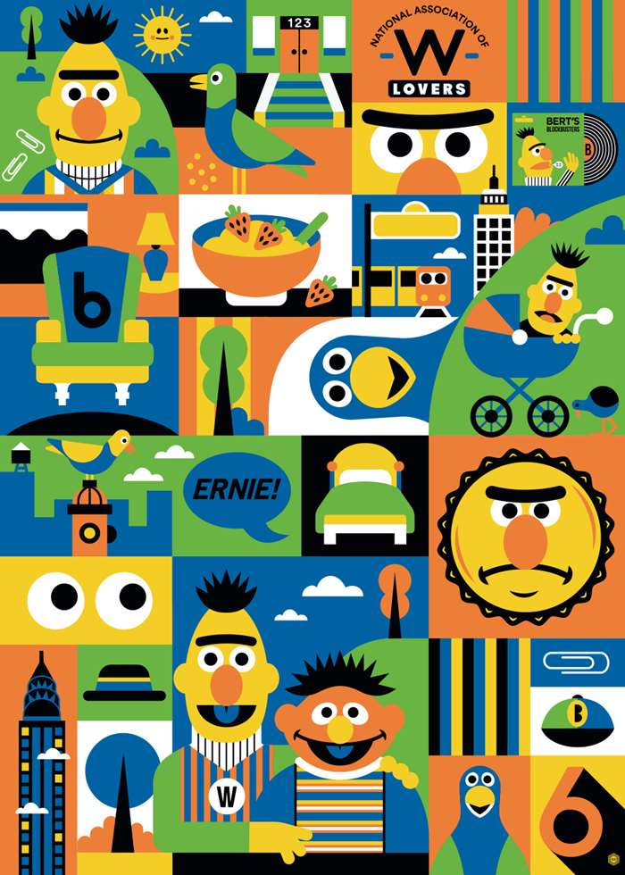 sesame street collage art