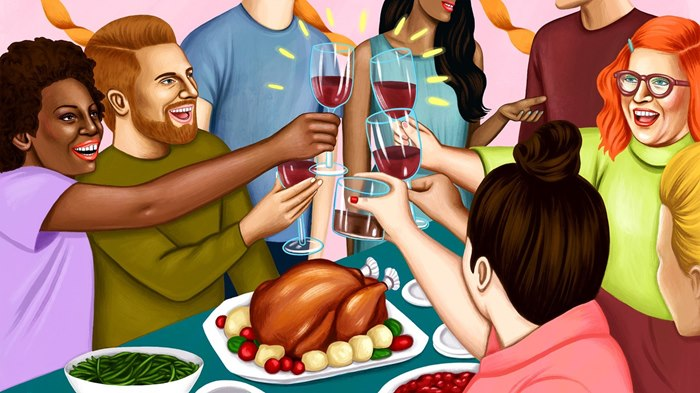 Editorial of friends enjoying thanksgiving dinner
