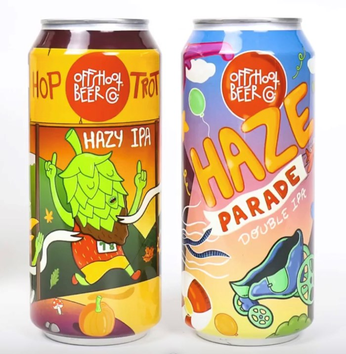 Packaging illustration for drinks named Hop Trot Hazy IPA and Haze Parade