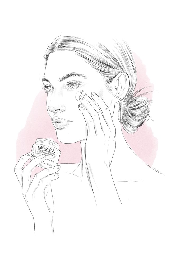 Woman applying cream on her face black and white drawing