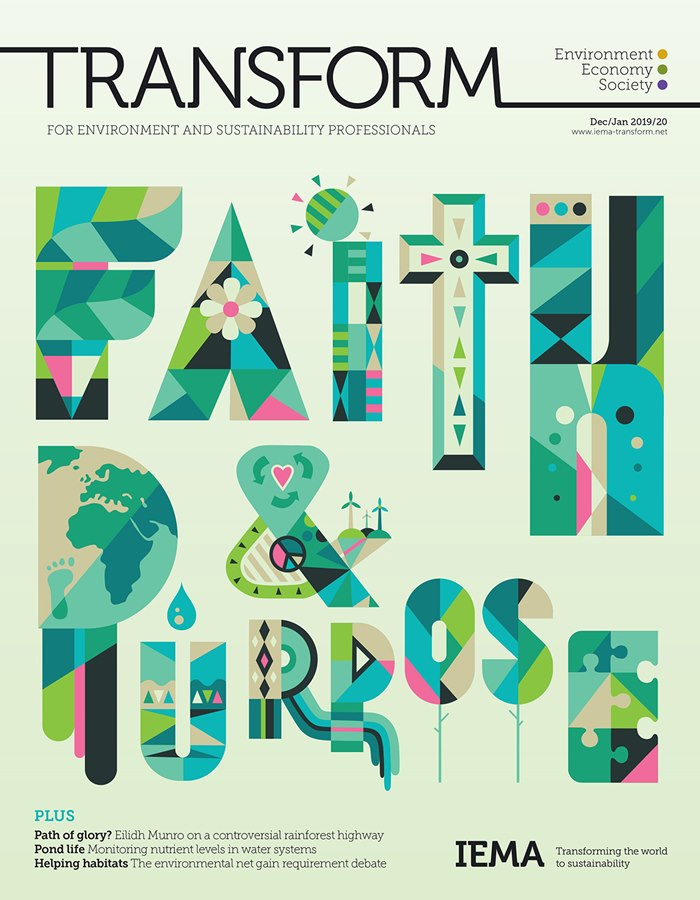 cover illustration typography project for Transform Magazine