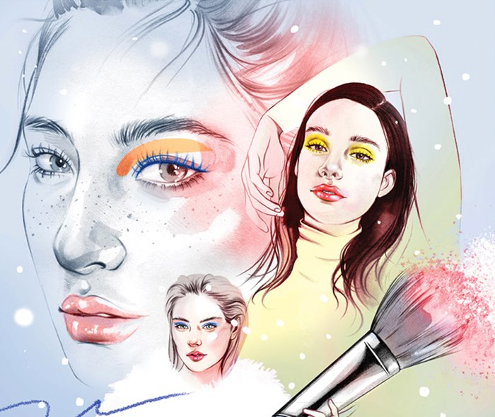 illustration showing make-up trends for the Winter season