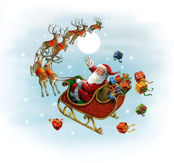 santa themed illustration for Sainsbury's Supermarkets by Ruth Palmer