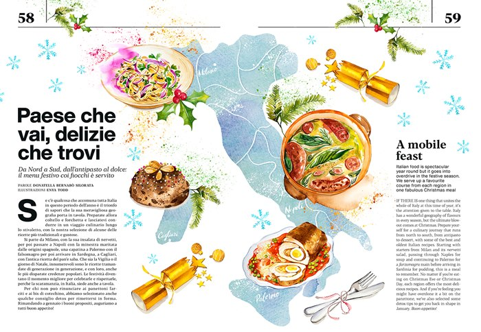 Italian Christmas Feast watercolour artwork for Air Italy Atmosphere Magazine