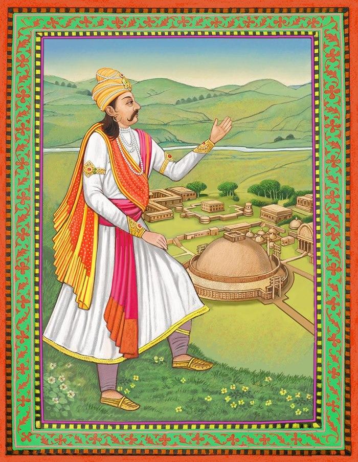 Editorial illustration of India's king Ashoka journey