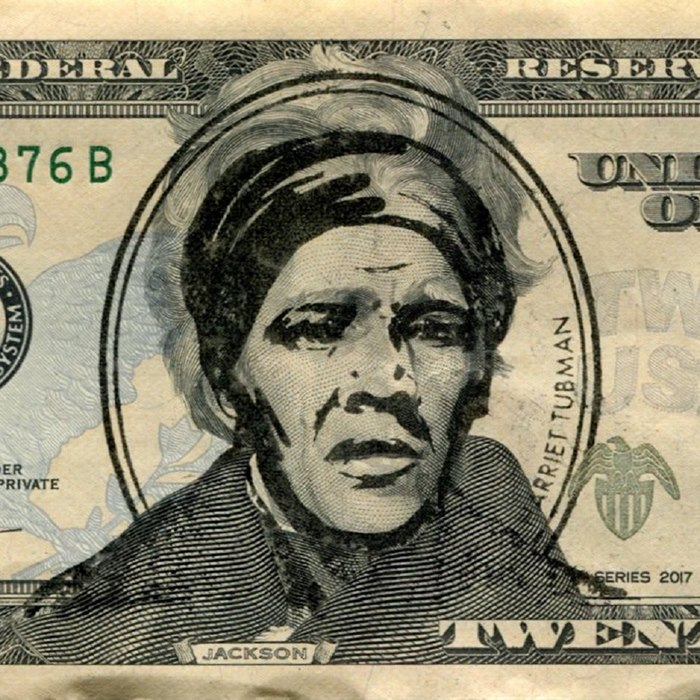 Harriet Tubman $20 bill stamp illustration by Dena Cooper