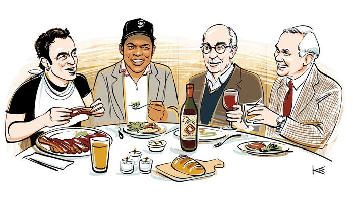 Illustration for Johns Hopkins Magazine on their alumni's ideal dinner guests