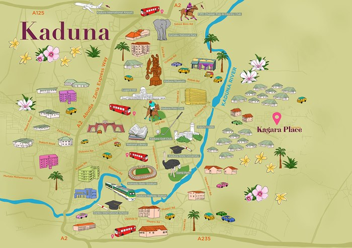Colourful Map illustration of Kaduna city by Claire Rollet