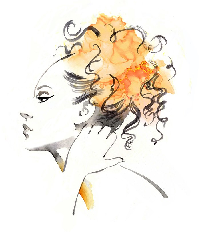 Fashion illustration of beautiful curly hair girl