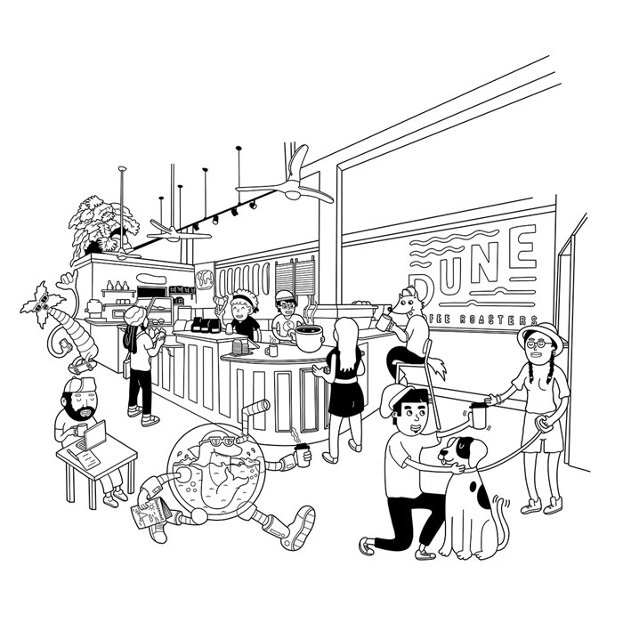 Line illustration of the Santa Barbara coffee shop