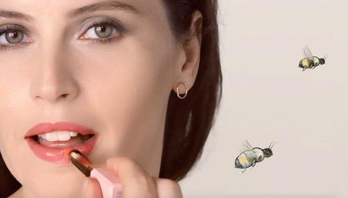Portrait of women wearing lipstick