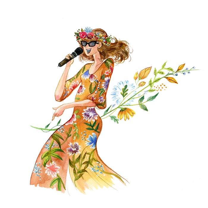 Watercolor portrait of Female single music band