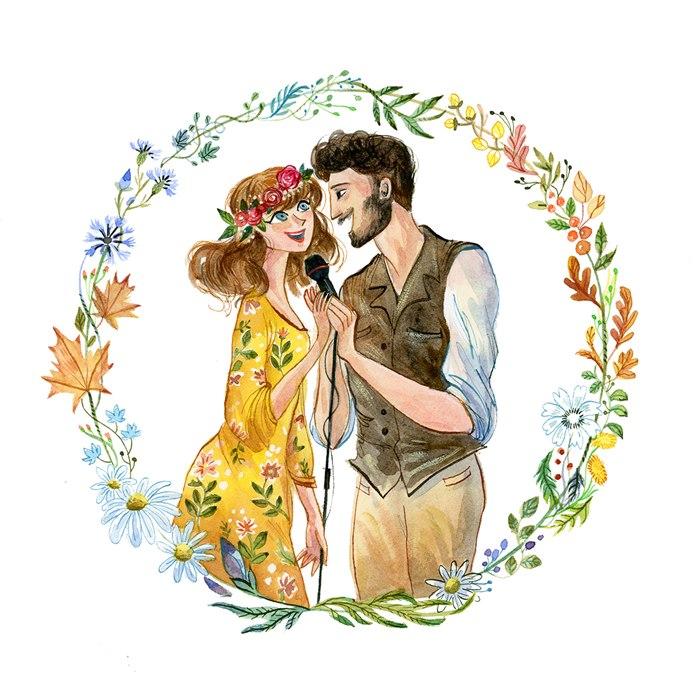 Watercolor portrait of singing couple