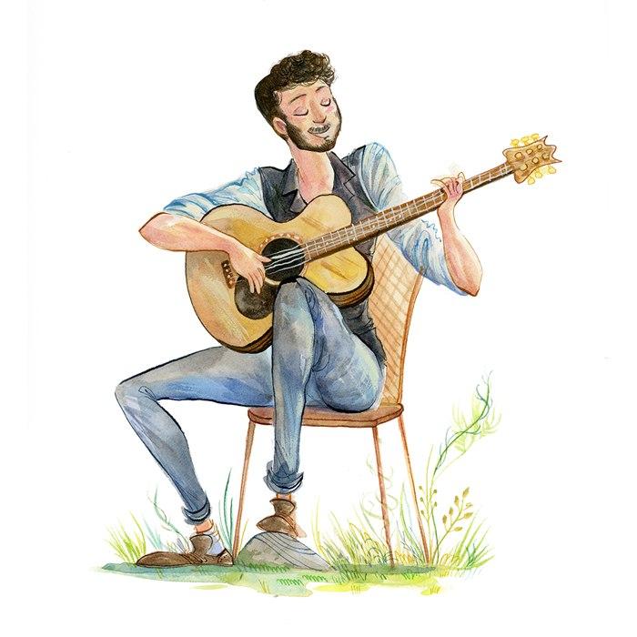 Male singer watercolor portrait illustration