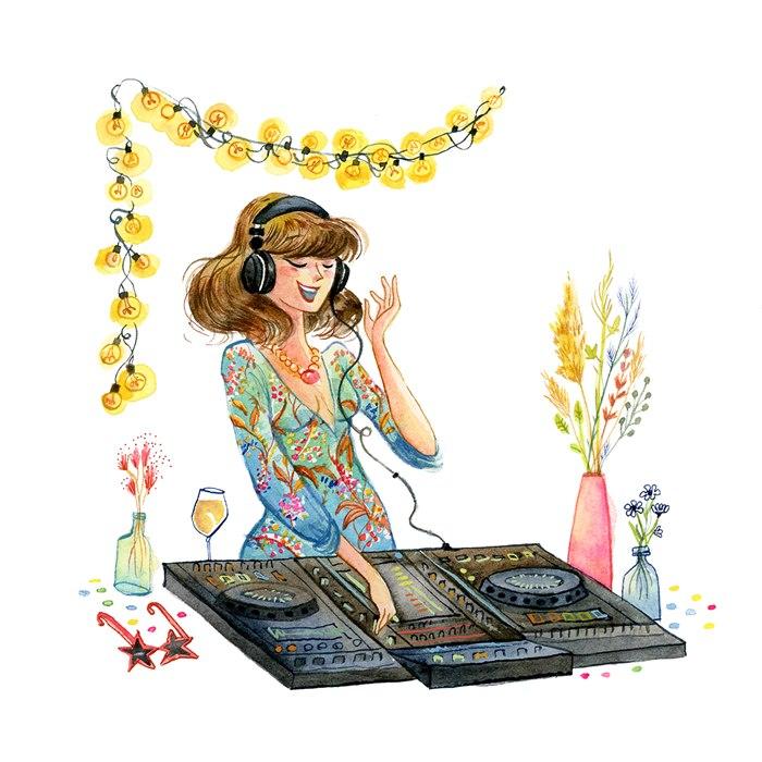 Female DJ watercolor portrait illustration