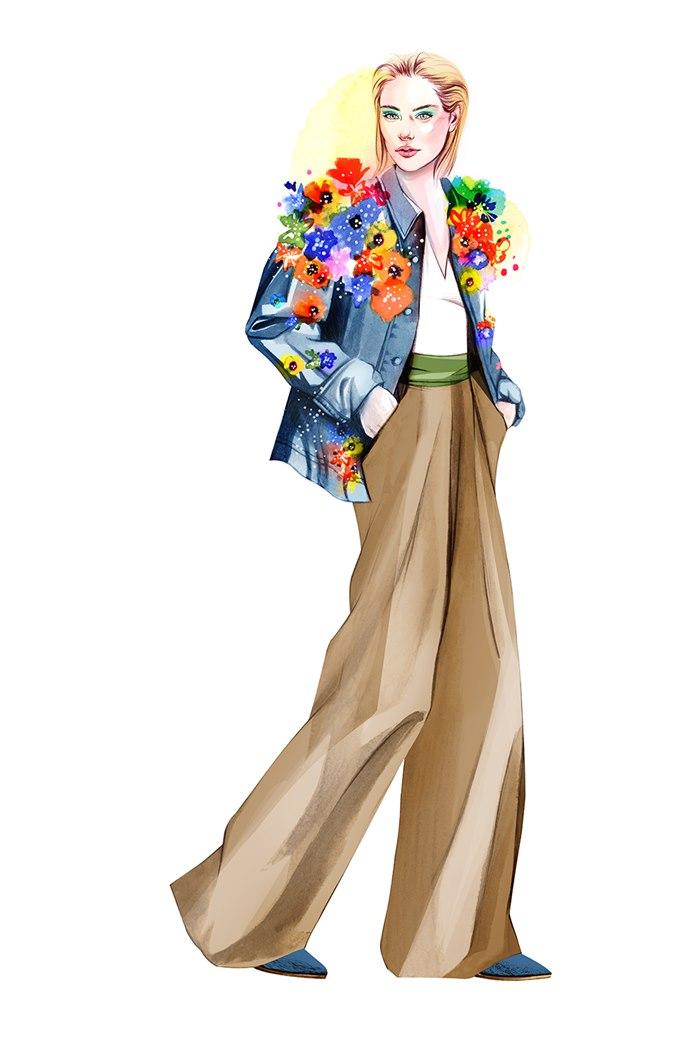 Fashion illustration of Flower girl dress