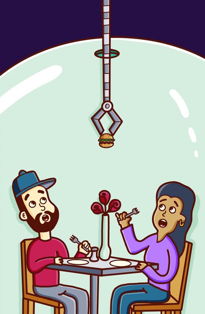 Comic illustration of restaurant service on covid-19