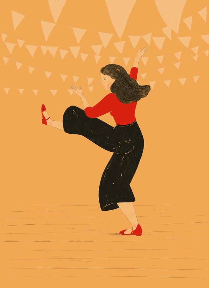 Watercolor design of girl dancing