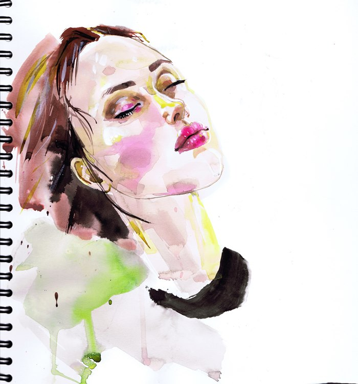 beautiful watercolour portrait by Jacqueline Bissett
