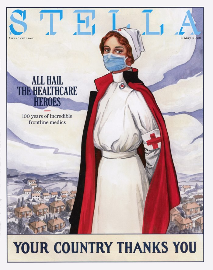 poster artwork of nurse for Stella Magazine