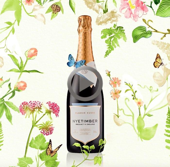 illustration of Nyetimber wine bottle Classic Cuvee to life