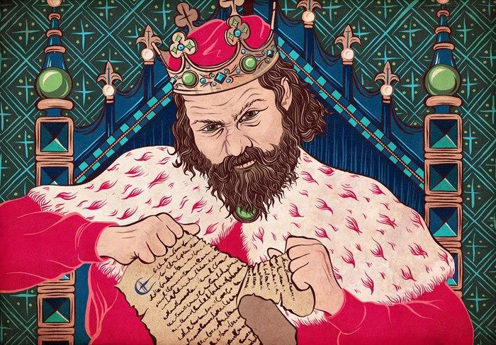 Illustration of King John for History Revealed Magazine