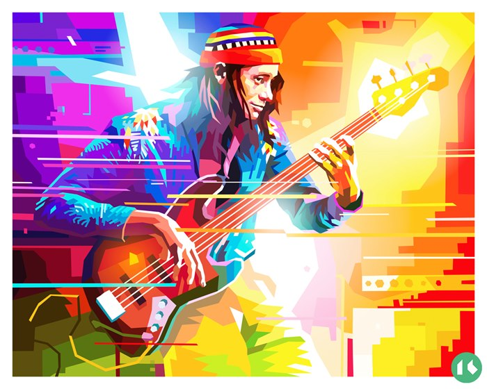 Colorful tribute to American jazz bass player Jaco Pastorius