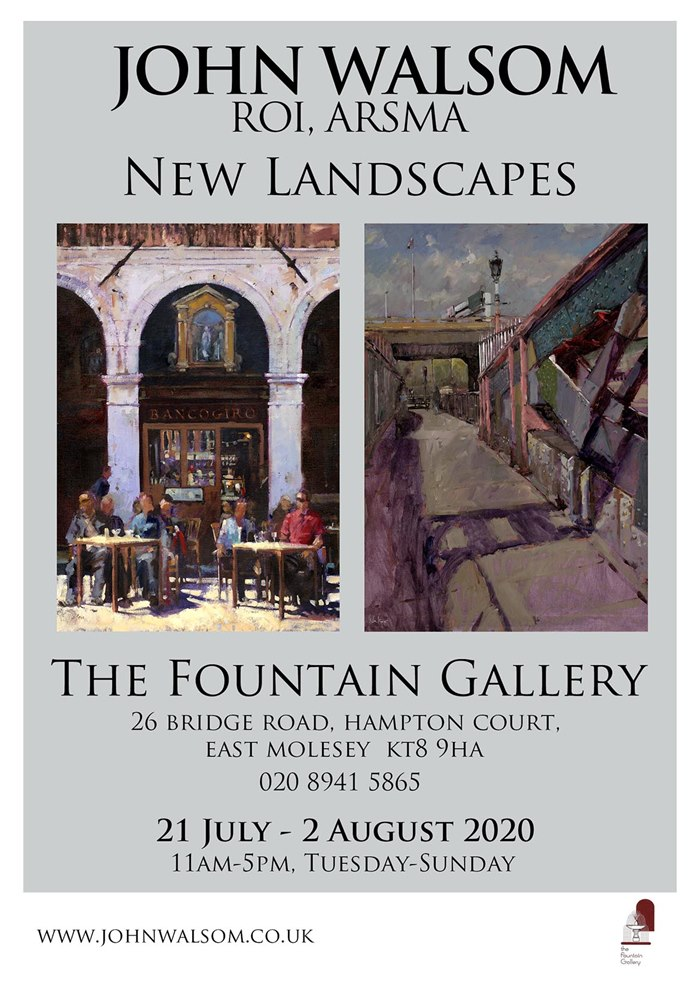 Oil painting of John Walsom exhibition at the Fountain Gallery