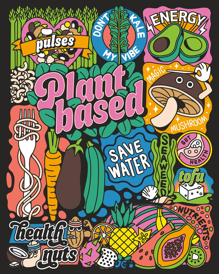 Illustration of the rise of the plant based diet.