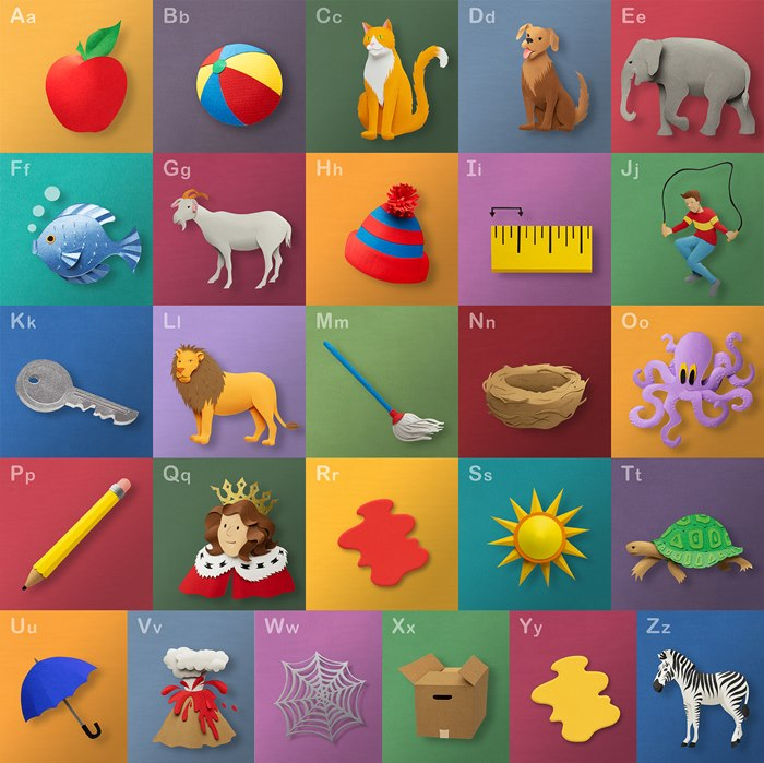 Illustration of children's alphabet series by Gail Armstrong