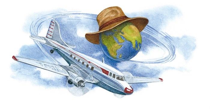 Editorial illustration of around the globe on flight