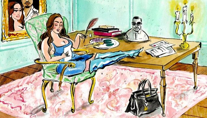 Editorial illustration of Ask Kim Kierkegaardashian for The New Yorker