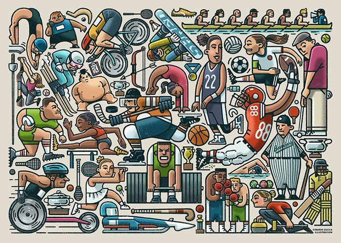 Sports Illustration of Jigsaw of Sport for Ravensburger.