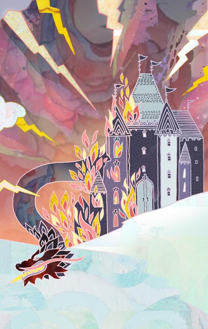 Decorative illustration of Chinese castle