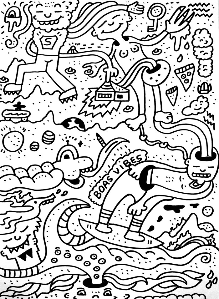 Black and white illustration of It's Doodle Day