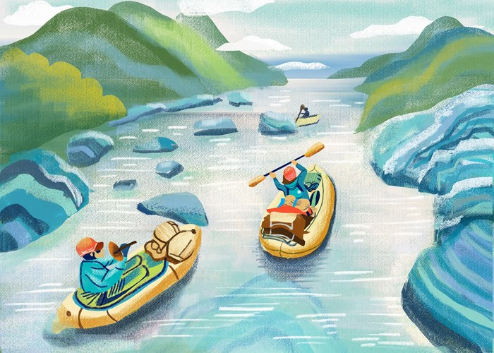Sport of rafting Editorial illustration for Backpacker Magazine
