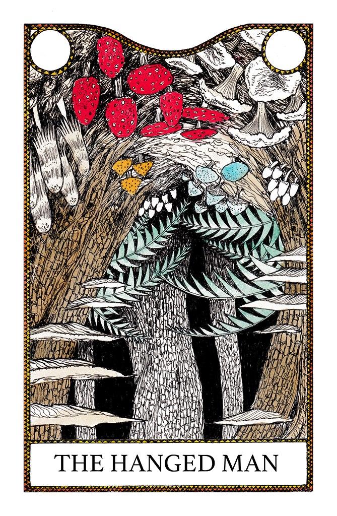 The hanged man tarot deck card illustration