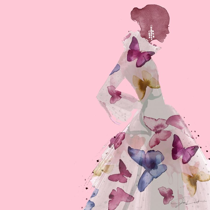 Fashion illustration of The Art of the Scarf for fight against breast cancer