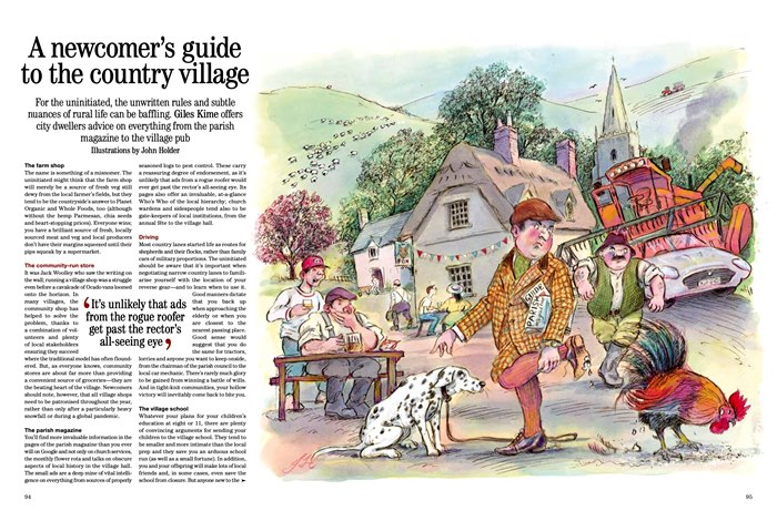 Editorial illustration of Newcomers Guide to the Country Village