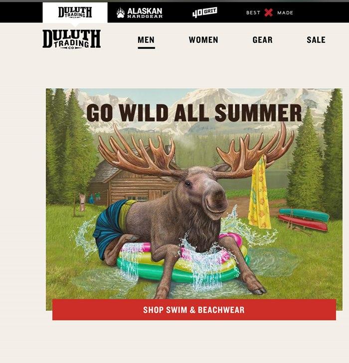 Duluth Trading Fashion company website banner illustration