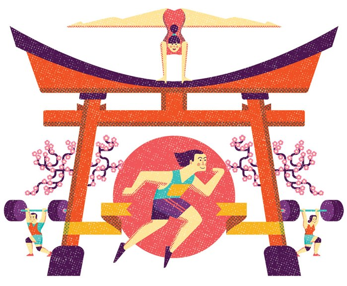 Editorial illustration of sports people for Tokyo Olympics