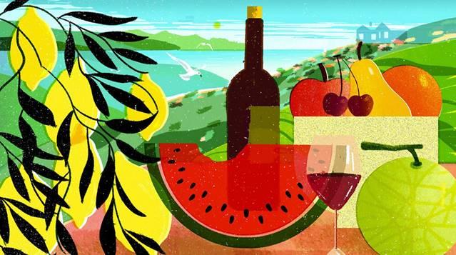 Wine and food digital illustration