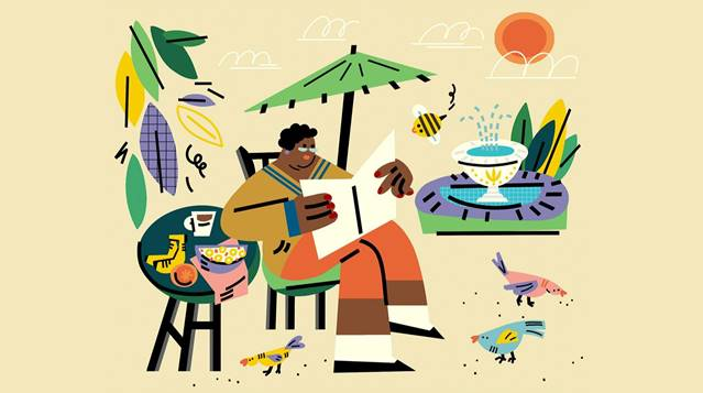 Graphic man sitting at beach